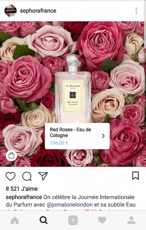 Instagram Shopping France : affichage du bouton d'achat