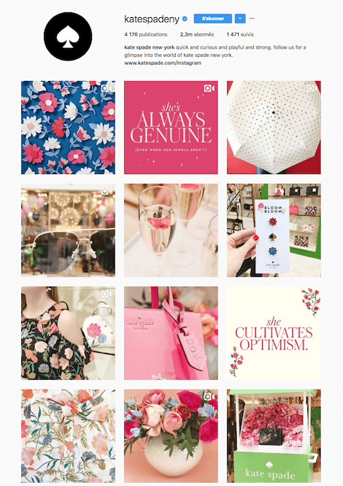 Instagram Shopping France : exemple d'un compte de marque