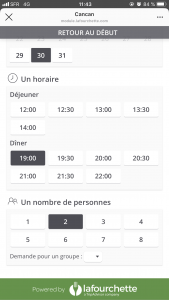 Interface de la page de réservation La Fourchette en passant par Instagram