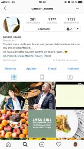 Interface de la page Instagram du restaurant Le Cancan