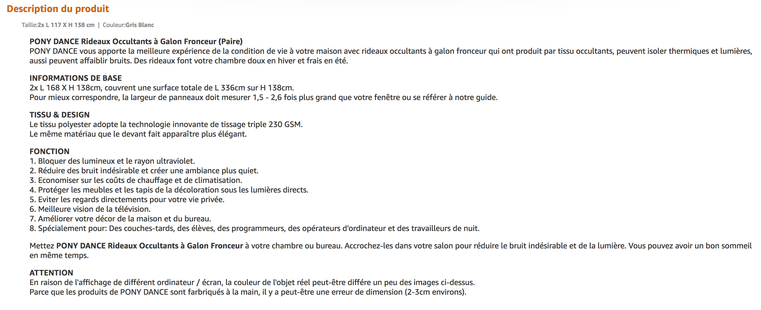 Page Amazon avec la description longue