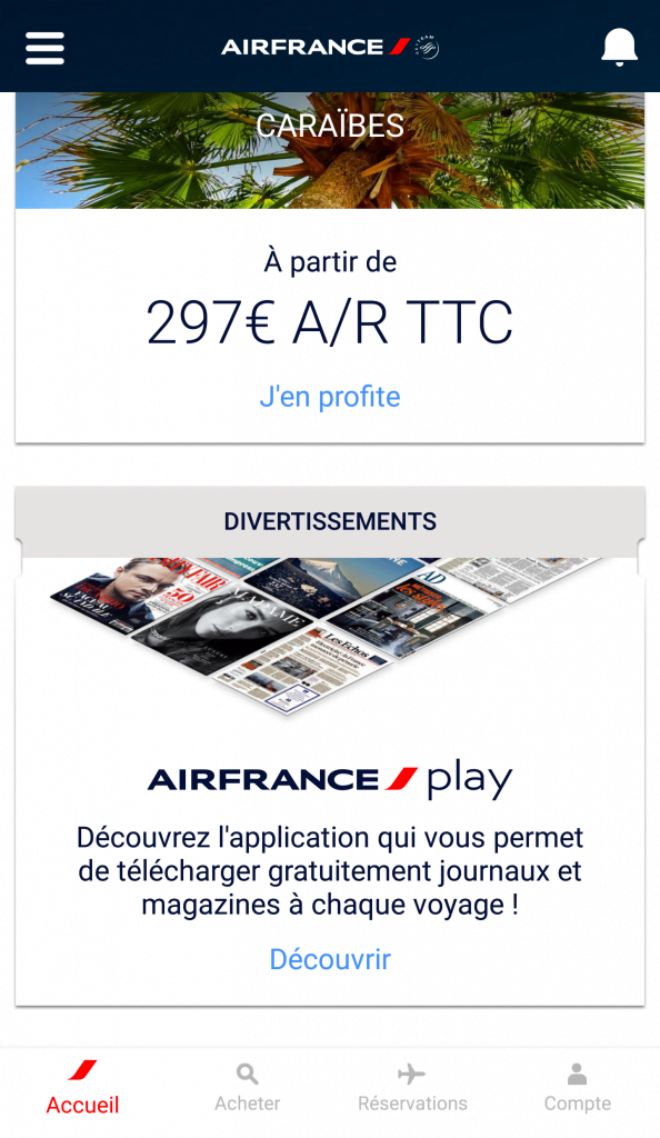 Page d'accueil de l'application Air France