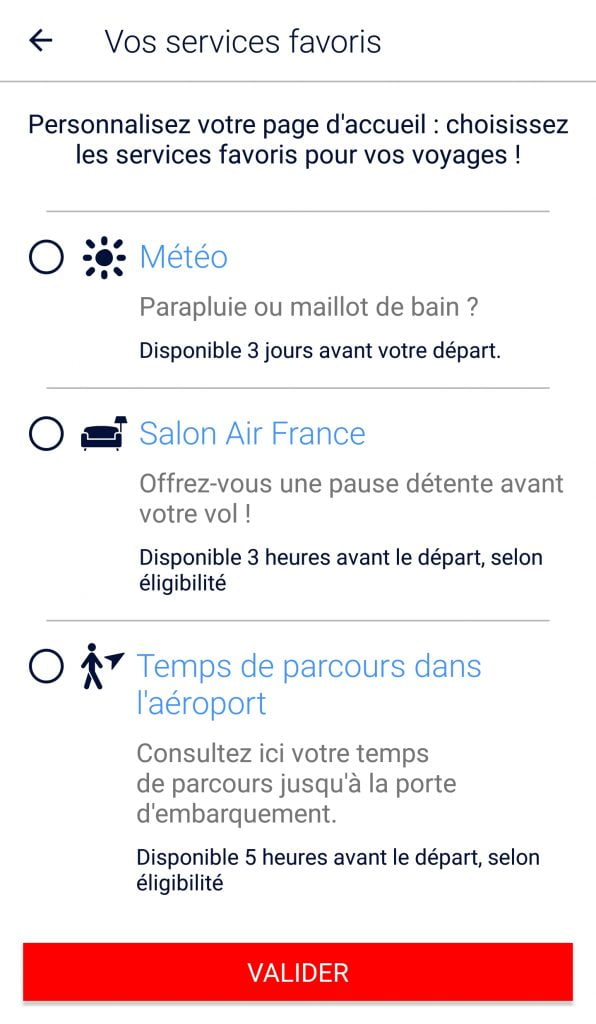 Page des services de l'application Air France