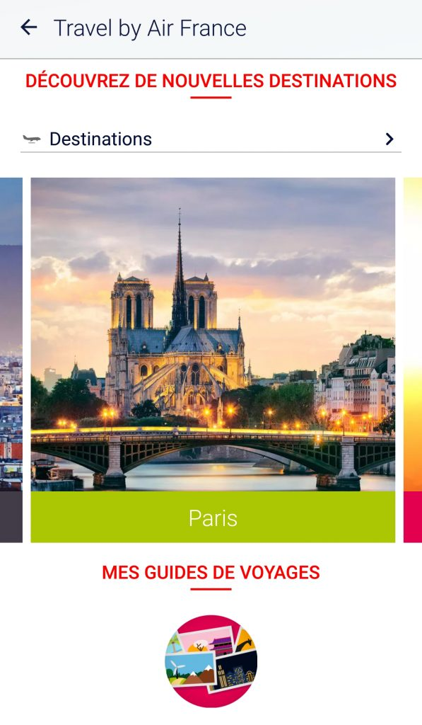 Page guide voyage de l'application Air France