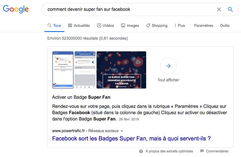 featured snippet paragraphe
